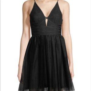 BCBGeneration Lace-up Tutu Black Mini Dress